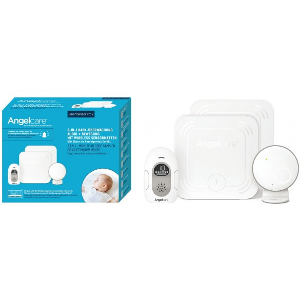 Angelcare SmartSensor Pro 2-in-1 Baby-Überwachung Audio + Bewegung mit zwei Wireless Sensormatten