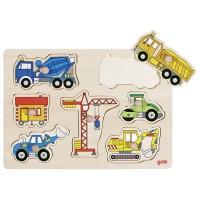 Goki Steckpuzzle Baufahrzeuge 7-Teilig