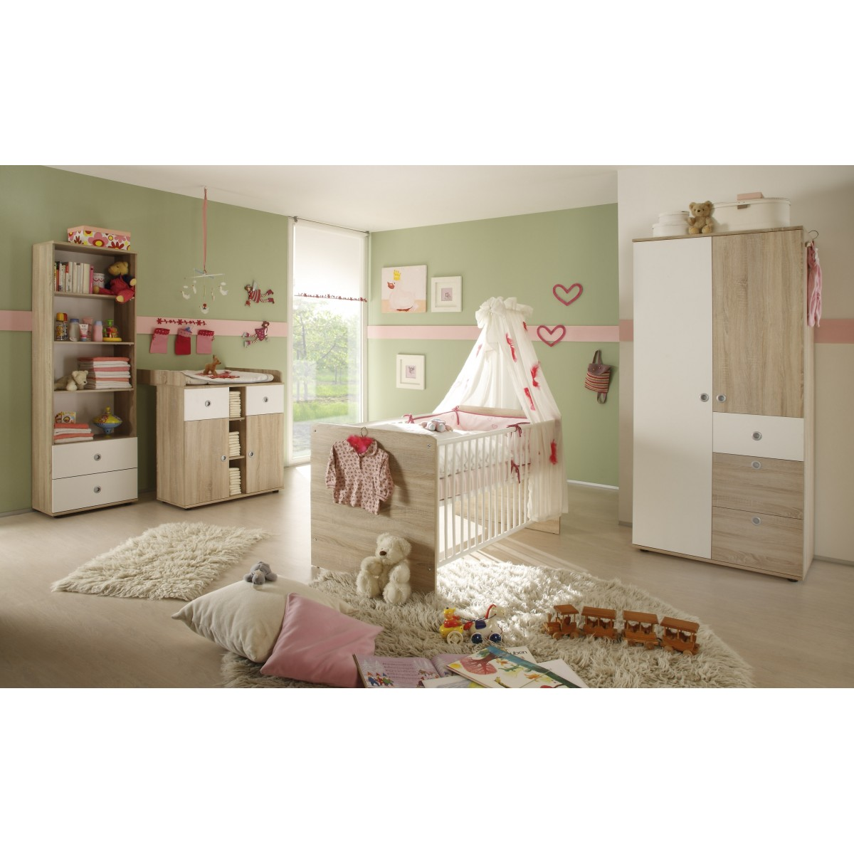 babyzimmer wiki 3 teilig eiche sonoma. Black Bedroom Furniture Sets. Home Design Ideas