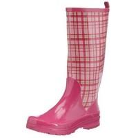 Playshoes Damen Gummistiefel Karo Pink