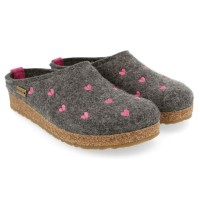 Haflinger Filzpantoffel Grizzly Cuoricino, anthrazit