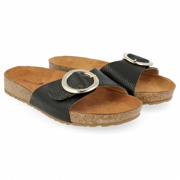 Haflinger Sandale Round Buckle Gina schwarz