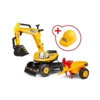 Falk JCB Baggermaschine Gelb Kinder Bagger 135A mit Helm und Anhänger