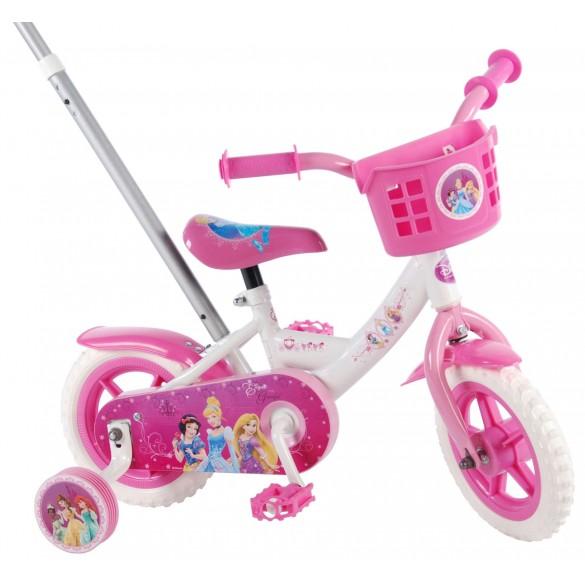 Volare Disney Princess Kinderfahrrad 10 Zoll Pink Weiß mit Schubstange
