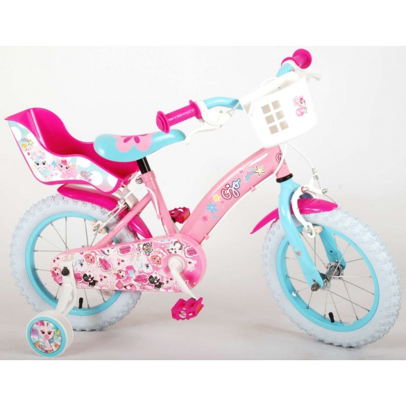 Volare OJO Kinderfahrrad Mädchen 14 Zoll Pink mit 2 Handbremsen