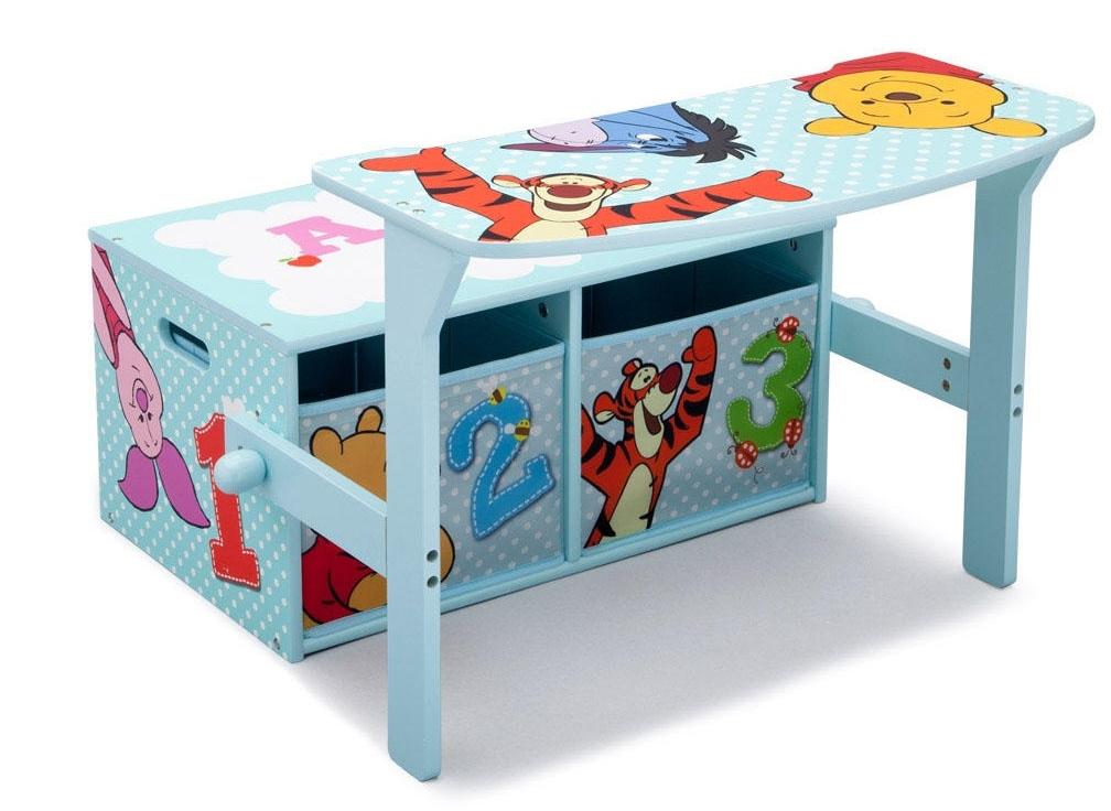kinderbank disney winnie pooh 3in1 bank tisch sitzbank spielzeugkiste bank neu ebay. Black Bedroom Furniture Sets. Home Design Ideas